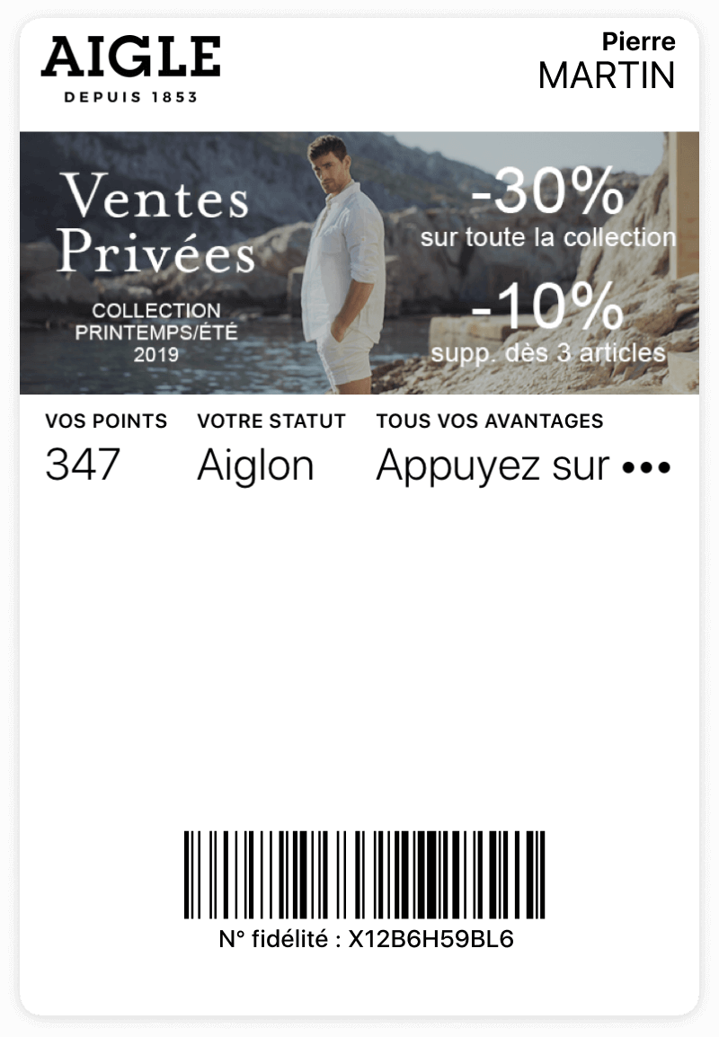 Carte Aigle sur wallet mobile
