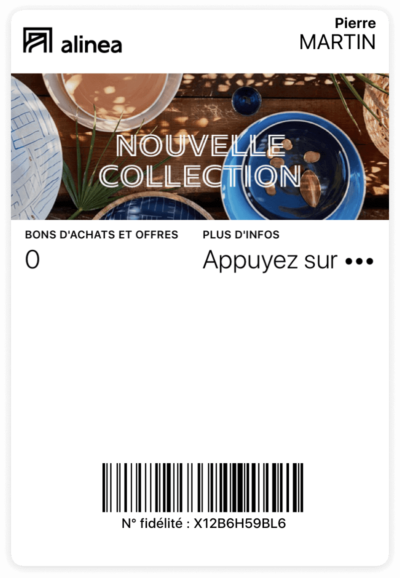 Carte Alinea sur wallet mobile