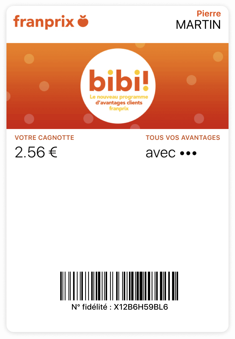 Carte Franprix sur wallet mobile