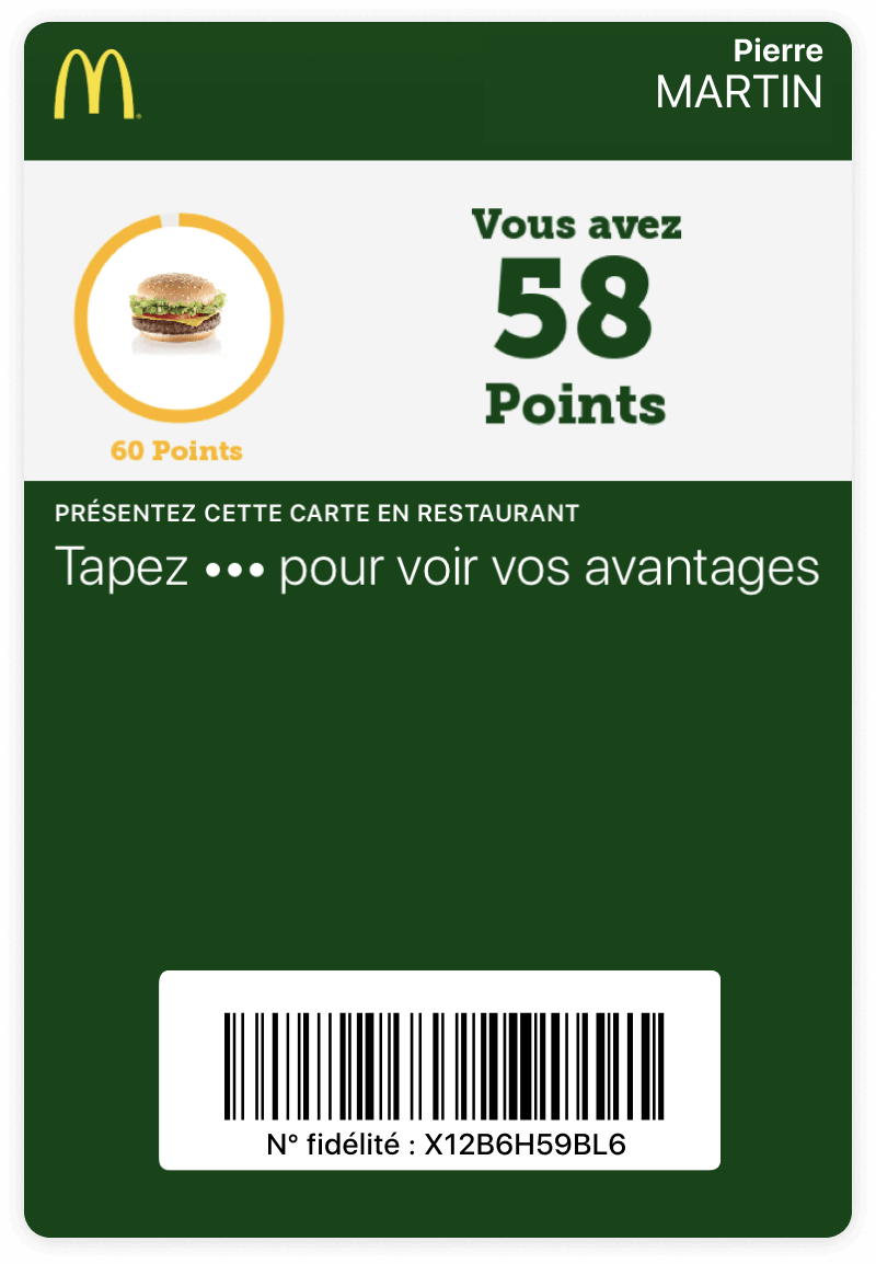 Carte McDonald's sur wallet mobile