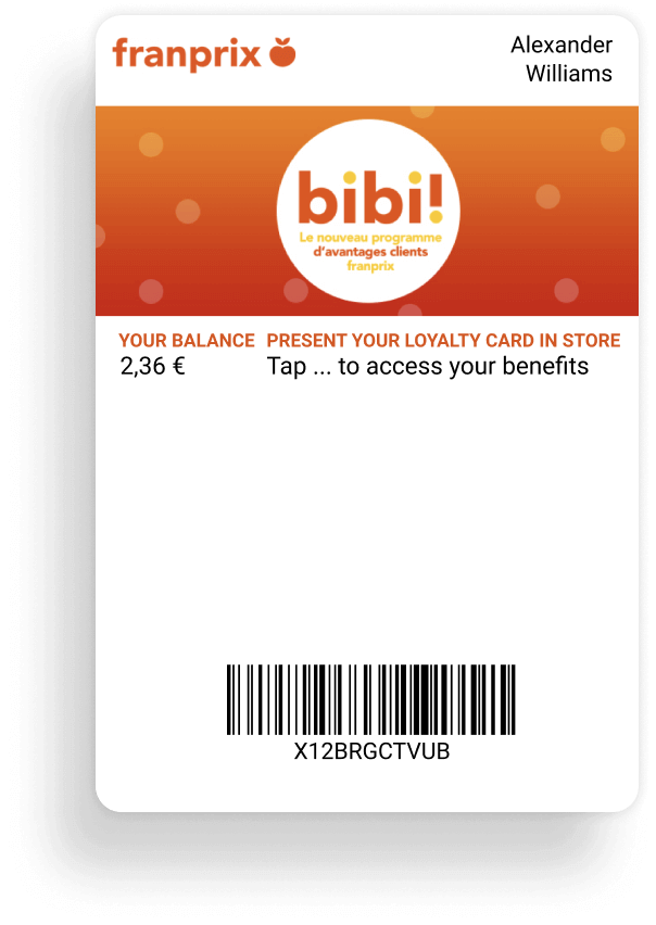 Franprix card digitized into the mobile wallets
