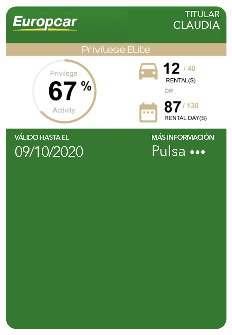 Tarjeta Europcar en Mobile Wallet