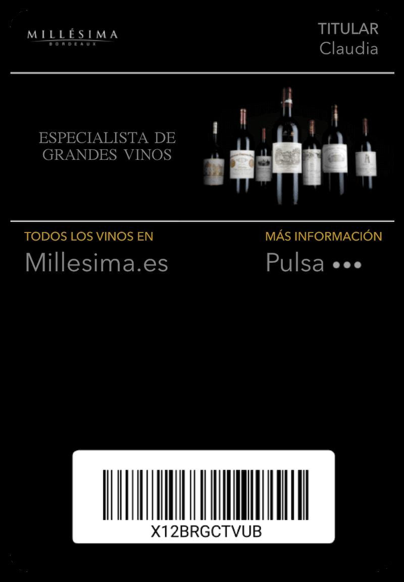 Tarjeta Millesima en Mobile Wallet